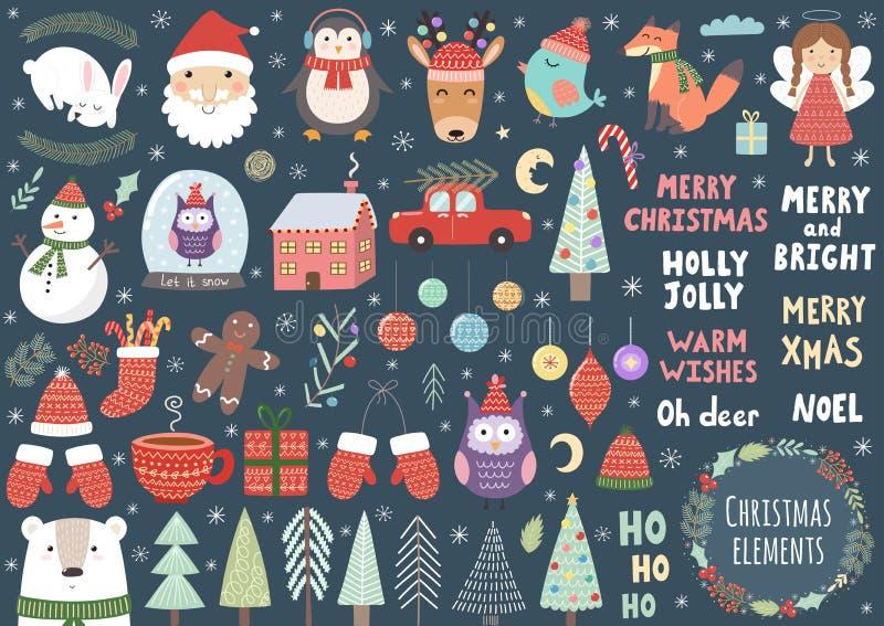 Vectorreeks leuke Kerstmiselementen royalty-vrije illustratie