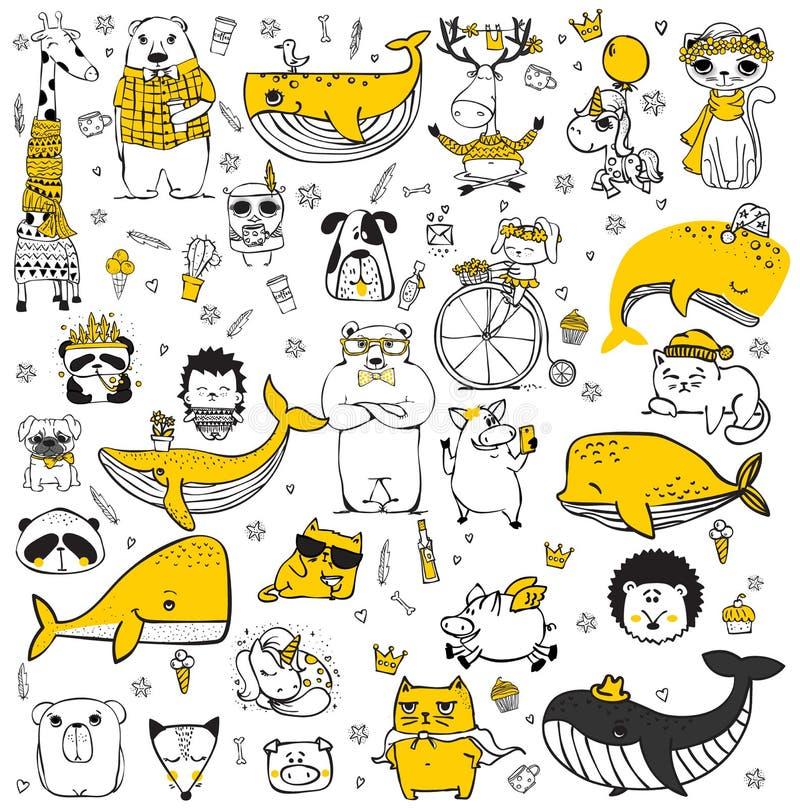 Vectorreeks leuke krabbel hipster dieren royalty-vrije illustratie