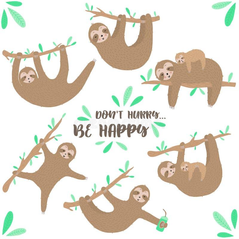 Vectorreeks leuke luiaarden Hand-drawn beeldverhaalillustratie van luiaard het hangen op een tak voor kinderen, de tropische zome royalty-vrije stock afbeelding