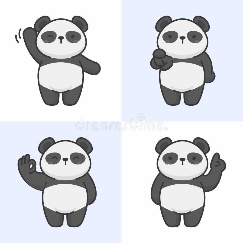 Vectorreeks leuke pandakarakters vector illustratie