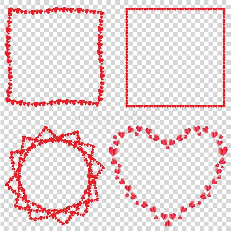 Vectorreeks leuke rode kaders van liefdeharten voor valentijnskaarten, Romaans ontwerp stock illustratie