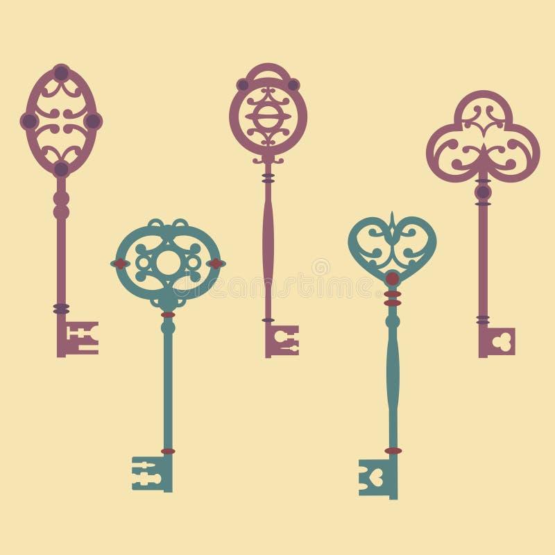 Vectorreeks leuke uitstekende sleutels stock illustratie