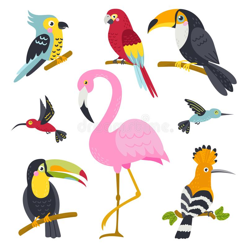 Vectorreeks leuke vogels van wildernis stock illustratie