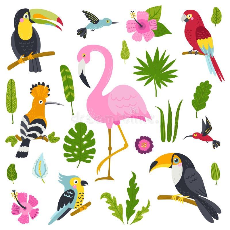Vectorreeks leuke vogels van wildernis en installaties royalty-vrije illustratie
