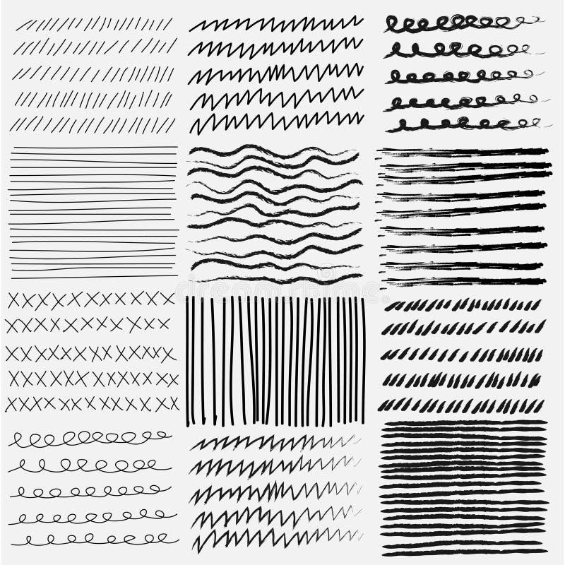 Vectorreeks lijn grunge hand getrokken texturen stock illustratie
