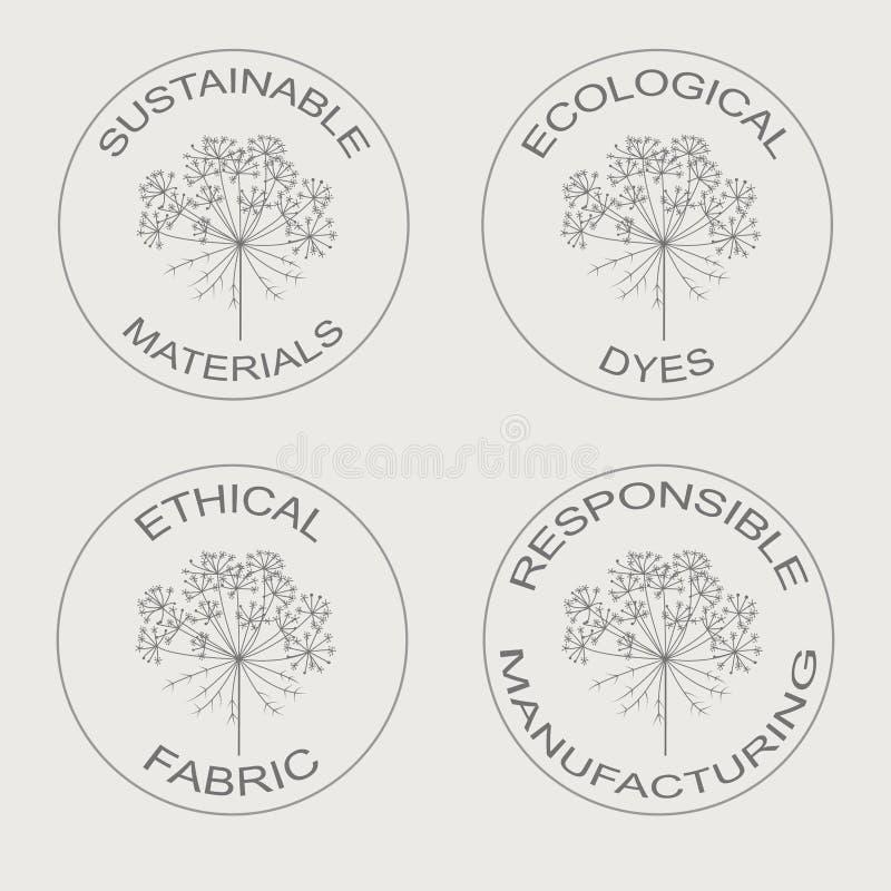Vectorreeks lineaire pictogrammen met betrekking tot de duurzame vervaardiging van de eco vriendschappelijke stof vector illustratie
