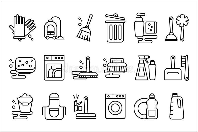 Vectorreeks lineaire pictogrammen op het schoonmaken thema Voorwerpen voor huishoudenhandschoenen, bezem, hoover, zwabber en emme vector illustratie