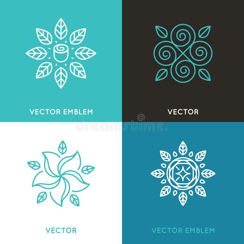 Vectorreeks malplaatjes van het embleemontwerp in in lineaire stijl stock illustratie