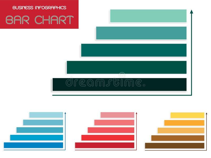 Vectorreeks Malplaatjes van Infographics van het Stappendiagram royalty-vrije illustratie