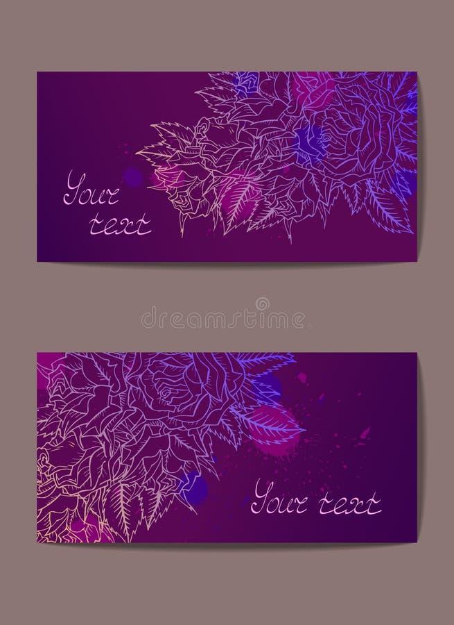 Vectorreeks malplaatjesuitnodigingen of groetkaarten met hand getrokken rozen royalty-vrije illustratie