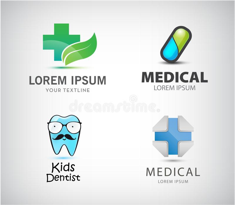 Vectorreeks medische emblemen Pillenpictogram, blauw kruis, jonge geitjestandarts, apotheek royalty-vrije illustratie
