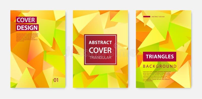 Vectorreeks moderne dekkingsontwerpsjablonen De geometrische facetvormen, vatten geometrische vliegers, jaarverslagen, pagina's s stock illustratie