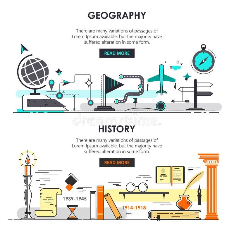 Vectorreeks moderne dunne van de lijngeschiedenis en aardrijkskunde banners stock illustratie