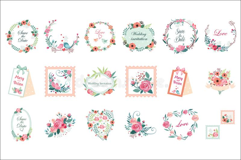 Vectorreeks mooie bloemenkaders, grenzen en etiketten Sparen de Datum Grafische elementen voor huwelijksuitnodiging vector illustratie