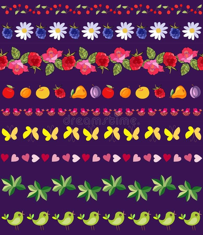 Vectorreeks mooie naadloze banden van bloemen, vruchten, bessen, bladeren, vogels, harten en vlinders vector illustratie