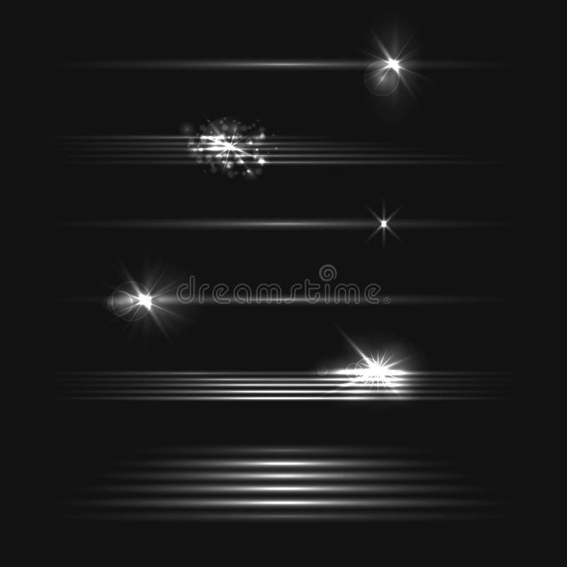 Vectorreeks Motie Lichteffecten voor Donkere Achtergrond, Zwart-witte Illustratie, Geplaatste Ontwerpelementen stock illustratie