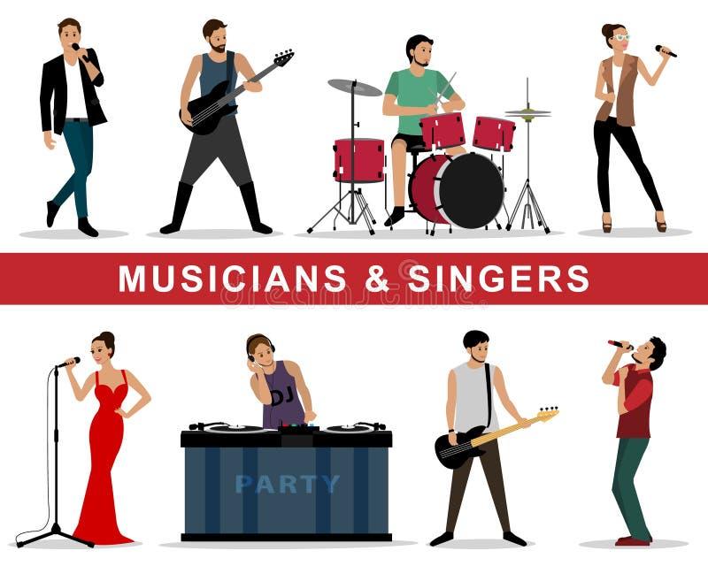 Vectorreeks musici en zangers: gitaristen, slagwerkers, zangers, DJ royalty-vrije illustratie