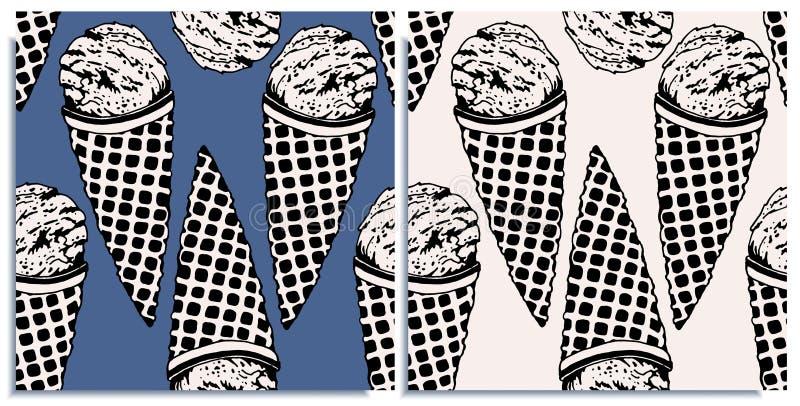 Vectorreeks naadloze patronen met prachtig roomijs, hand-drawn in grafisch en echt-stijl tegelijkertijd Contrastkleuren: stock illustratie
