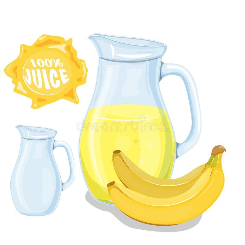 Vectorreeks natuurlijk vers die banaansap in bank en bananen op wit in beeldverhaalstijl worden geïsoleerd vector illustratie