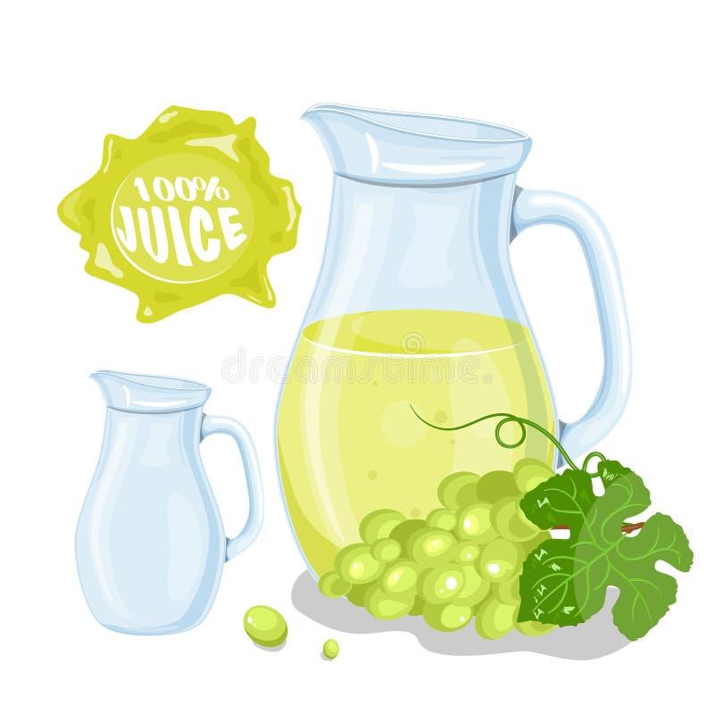 Vectorreeks natuurlijke verse die druivenkruik in bank en druiven op wit worden geïsoleerd Gezonde organische fruitdrank, cocktai royalty-vrije illustratie