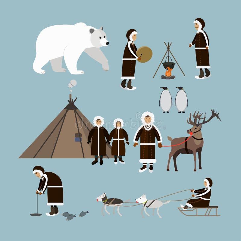 Vectorreeks noordpoolmensen en dieren vlakke stijlpictogrammen stock illustratie
