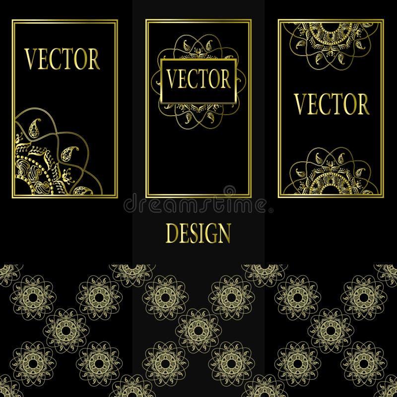 Vectorreeks ontwerpelementen, etiketten en kaders voor verpakking voor luxeproducten in uitstekende stijl - plaatsen en kaders royalty-vrije illustratie