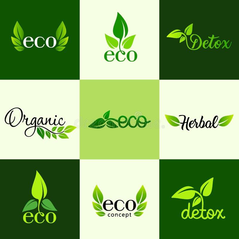 Vectorreeks ontwerpelementen van het embleem - een gezonde voeding, detox, organische en natuurlijke producten vector illustratie