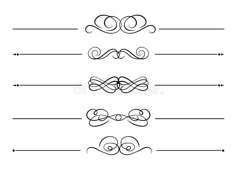 Vectorreeks ontwerpelementen, Zwarte Decoratieve die Lijnen op Witte Achtergrond, Kalligrafische Wervelingen worden geïsoleerd royalty-vrije illustratie