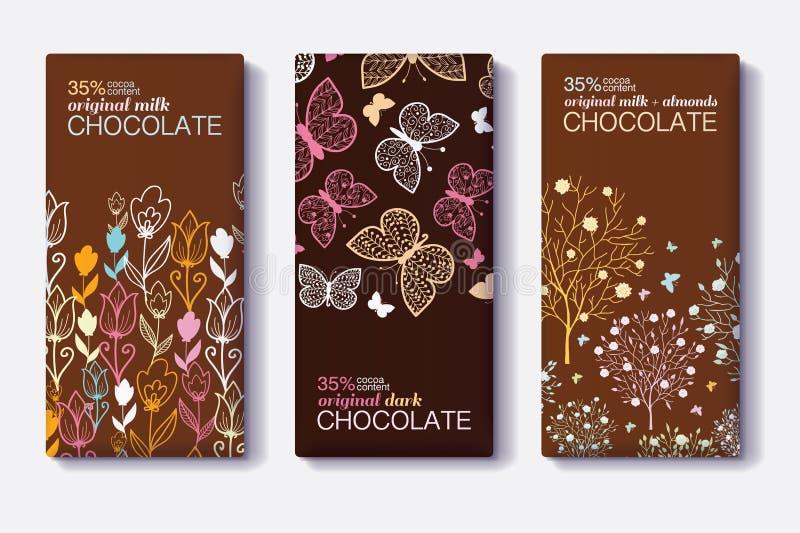 Vectorreeks Ontwerpen van het Chocoladereeppakket met Moderne Bloemen en Vlindergrenzen Melk, Dark, Amandel editable vector illustratie