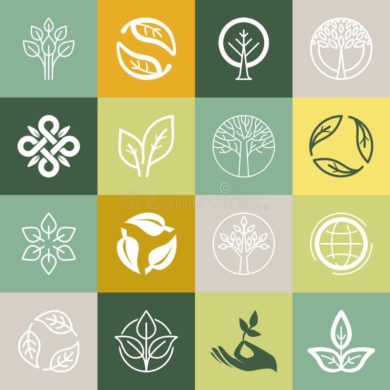 Vectorreeks of organische tekens stock illustratie