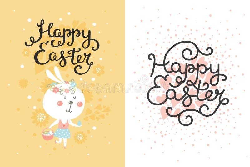 Vectorreeks Pasen-kaarten met konijntje, ei stock illustratie