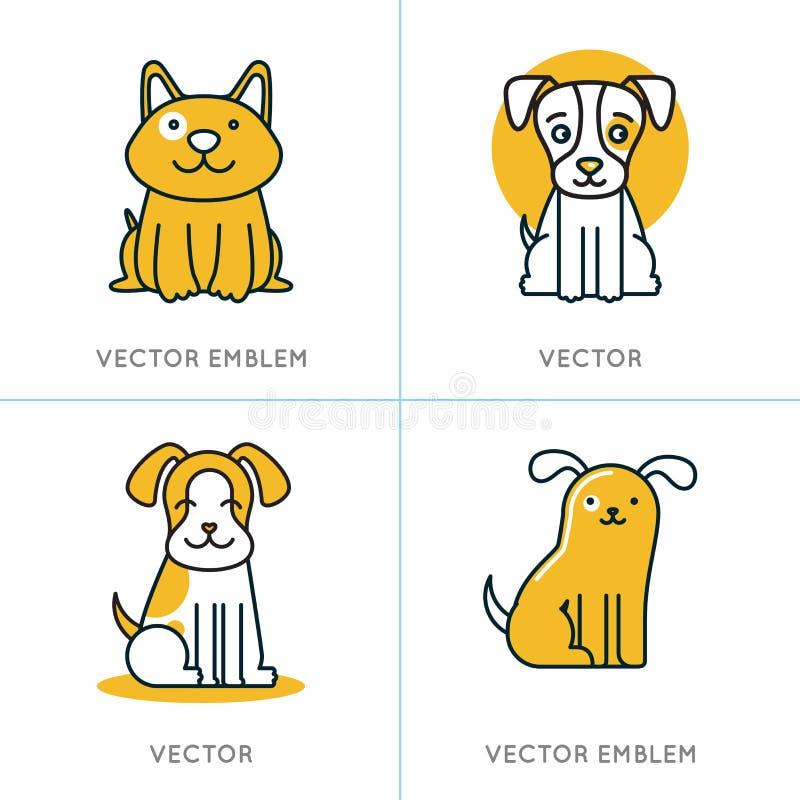 Vectorreeks pictogrammen en tekens in in lineaire stijl stock illustratie