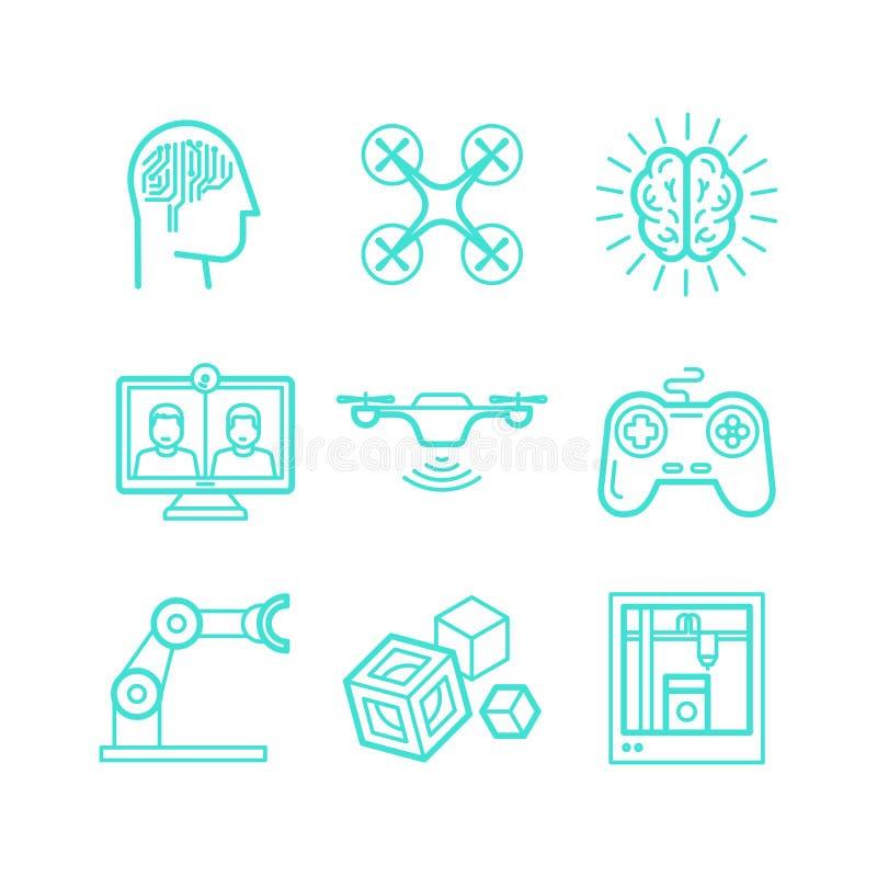 Vectorreeks pictogrammen in in lineaire stijl royalty-vrije illustratie
