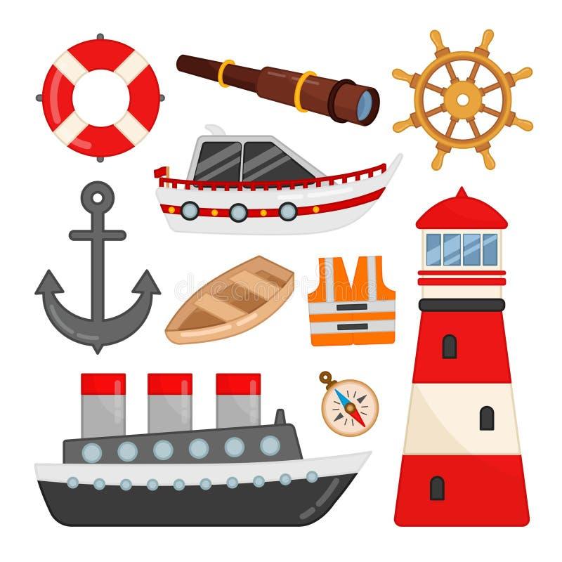Vectorreeks pictogrammen op het mariene thema royalty-vrije illustratie