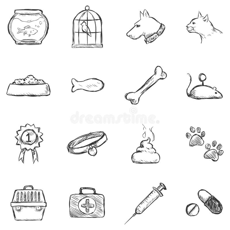 Vectorreeks Pictogrammen van Schetshuisdieren royalty-vrije stock afbeeldingen