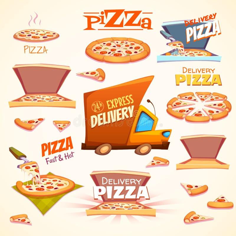 Vectorreeks Pizzapictogrammen, etiketten, tekens, symbolen stock illustratie