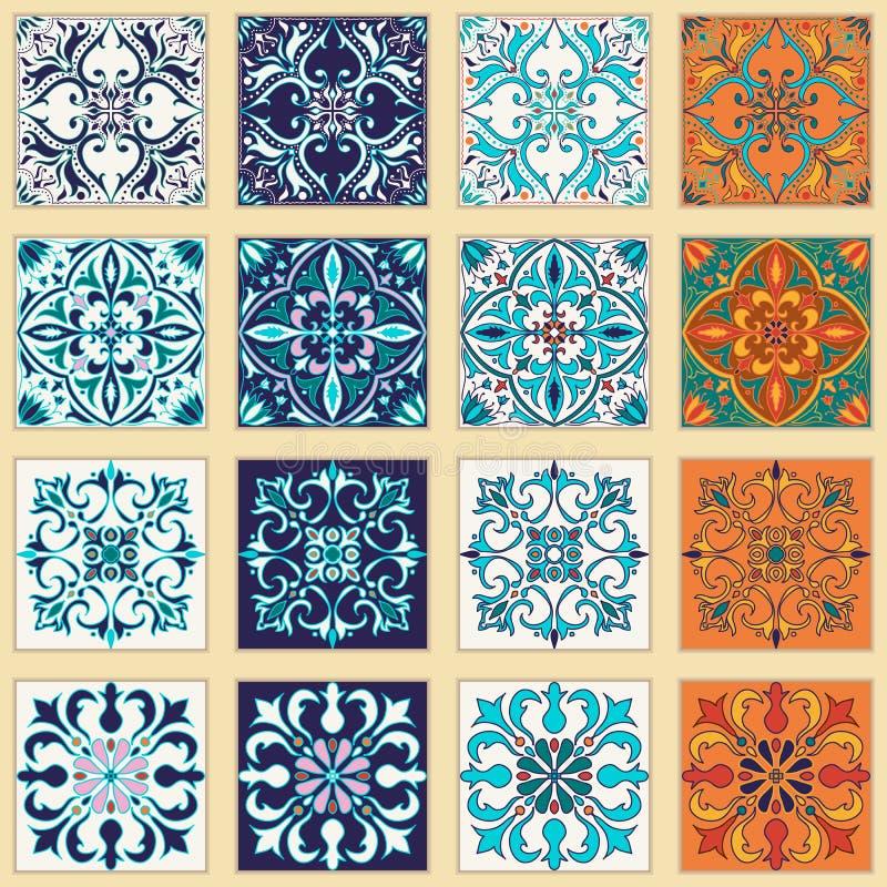Vectorreeks Portugese tegels Mooie gekleurde patronen voor ontwerp en manier vector illustratie