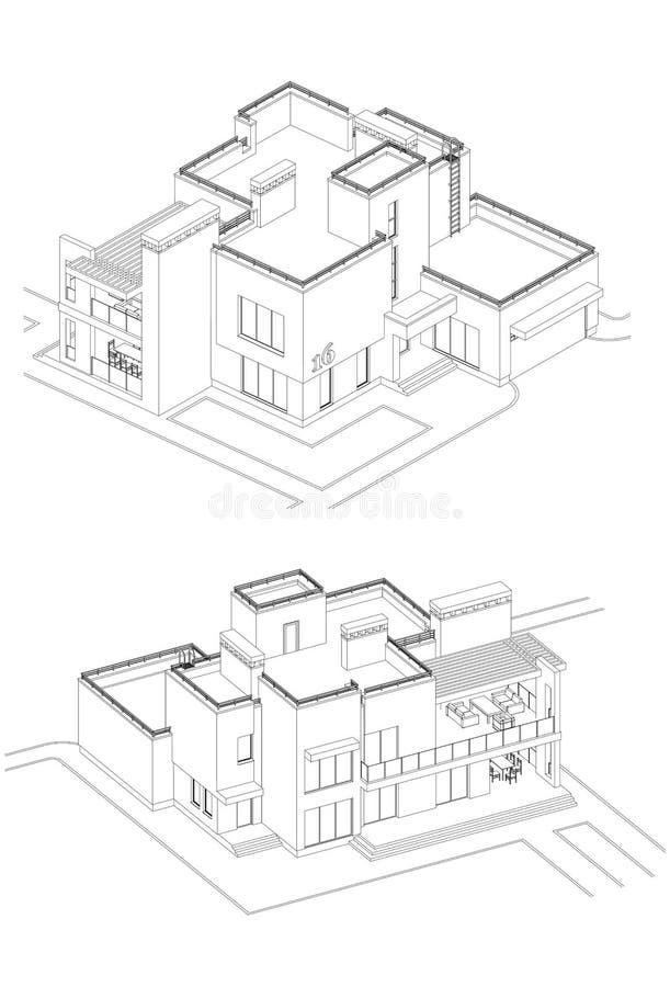 Vectorreeks privé huisvoorgevels, gedetailleerde architecturale technische tekening, isometrisch, lucht royalty-vrije illustratie