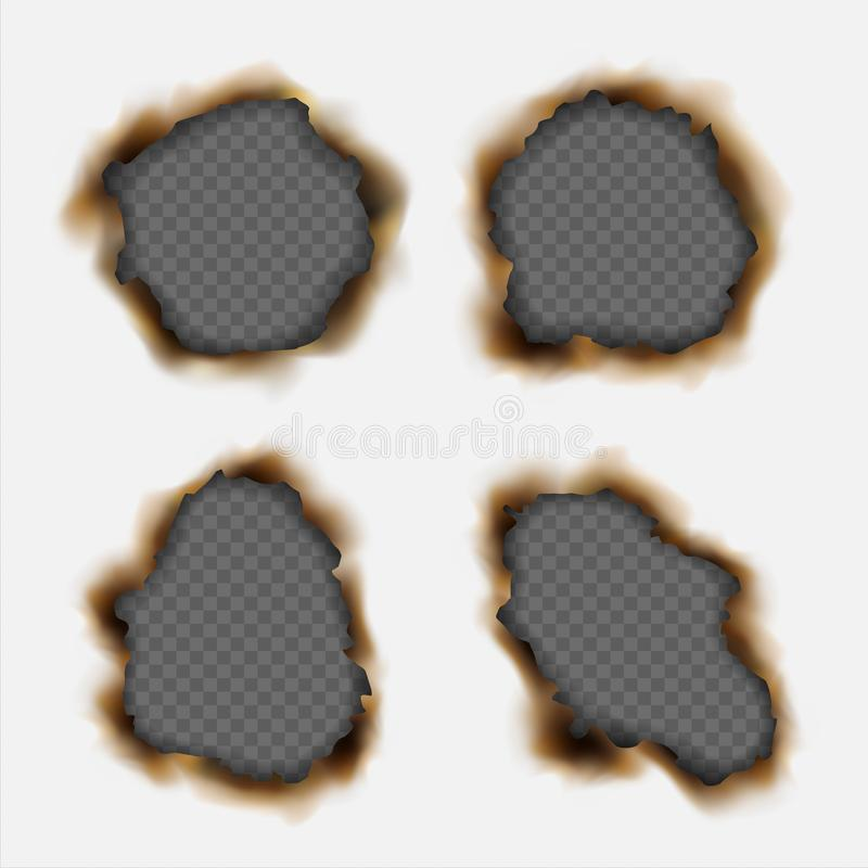 Vectorreeks realistische die gaten in document worden gebrand op transpa wordt geïsoleerd stock illustratie