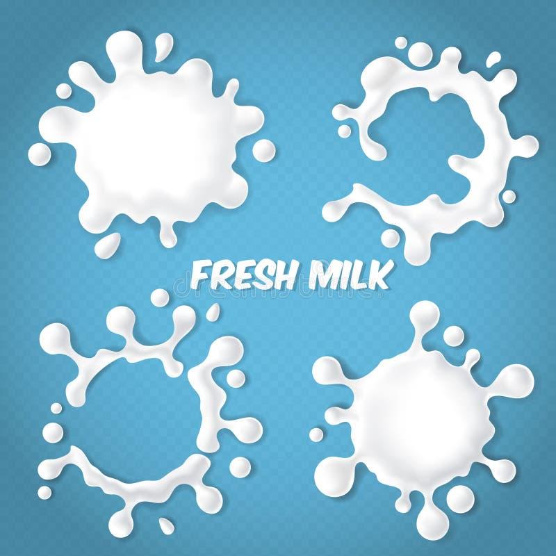 Vectorreeks realistische melk of yoghurtplonsen royalty-vrije illustratie