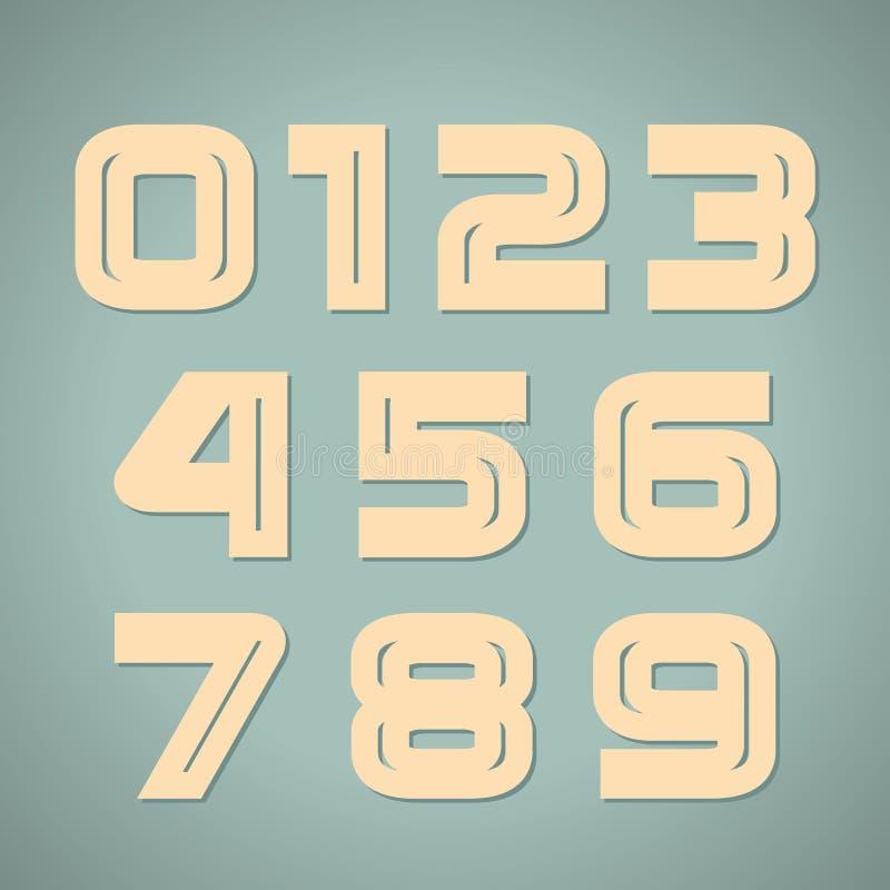 Vectorreeks retro aantallen royalty-vrije illustratie