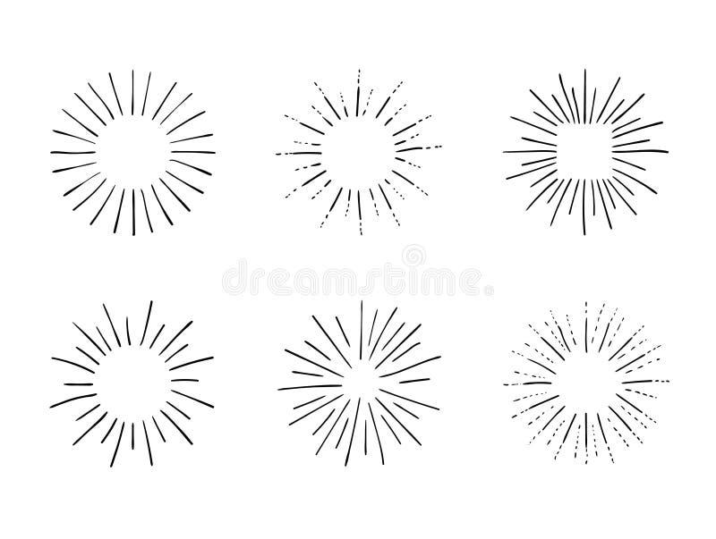 Vectorreeks Retro Stijlkaders, Hand Getrokken Geplaatste Ontwerpelementen, Zwarte Lijnenpictogrammen stock illustratie