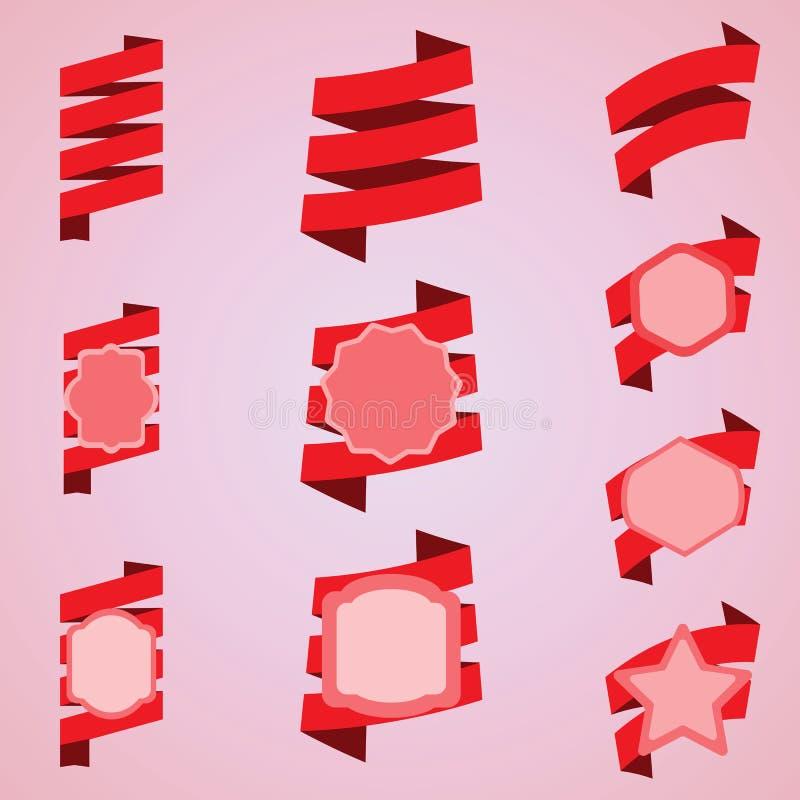 Vectorreeks rode linten, etiket, sticker stock fotografie