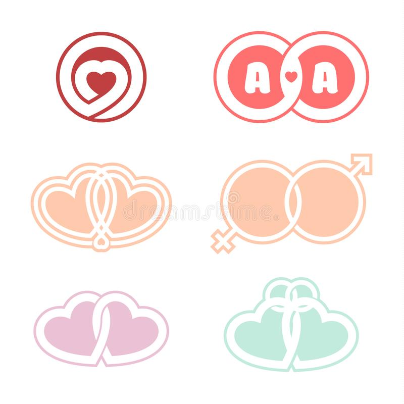 Vectorreeks romantische emblemen Verenigd Hartsymbool van liefde huwelijk Heldere witte achtergrond vector illustratie