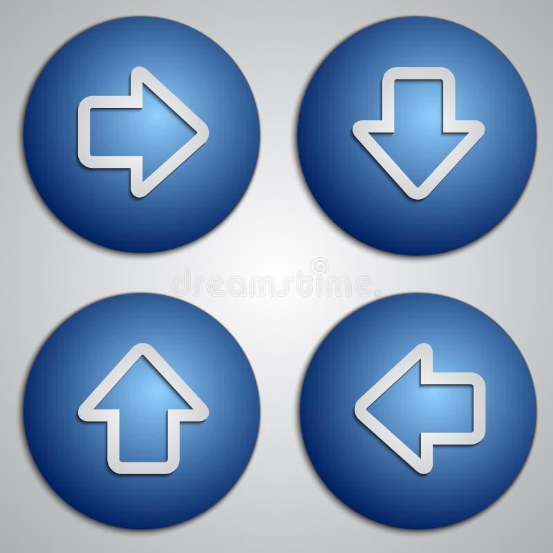 Vectorreeks ronde blauwe pijlknopen met document besnoeiingsbeeld vector illustratie