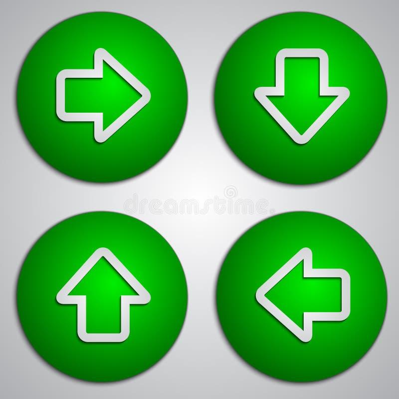 Vectorreeks ronde groene pijlknopen met document stock illustratie
