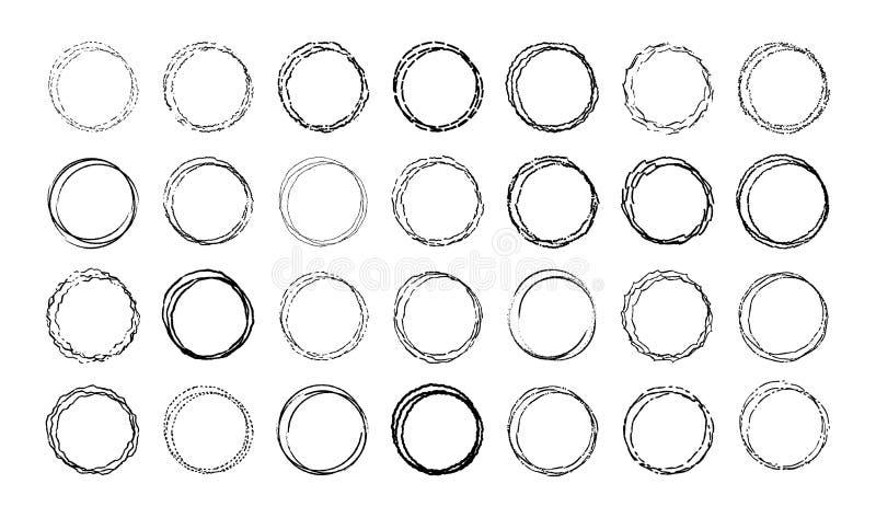 Vectorreeks ronde krabbelkaders Lege cirkelsinzameling voor decoratie Hand getrokken onzorgvuldige lineaire cirkels vector illustratie