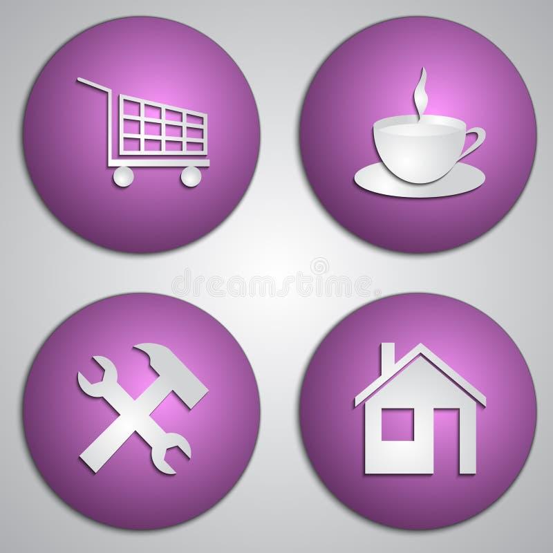 Vectorreeks ronde lilac plaatspictogrammen met document royalty-vrije illustratie
