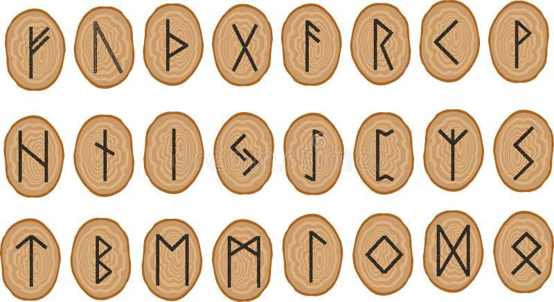 Vectorreeks runen op houten platen royalty-vrije illustratie