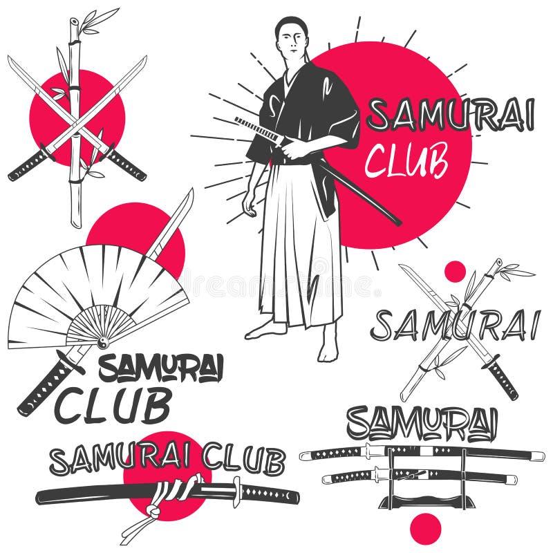 Vectorreeks samoeraienetiketten in uitstekende stijl Het oosterse concept van de vechtsportenclub Gekruiste katanazwaarden stock illustratie